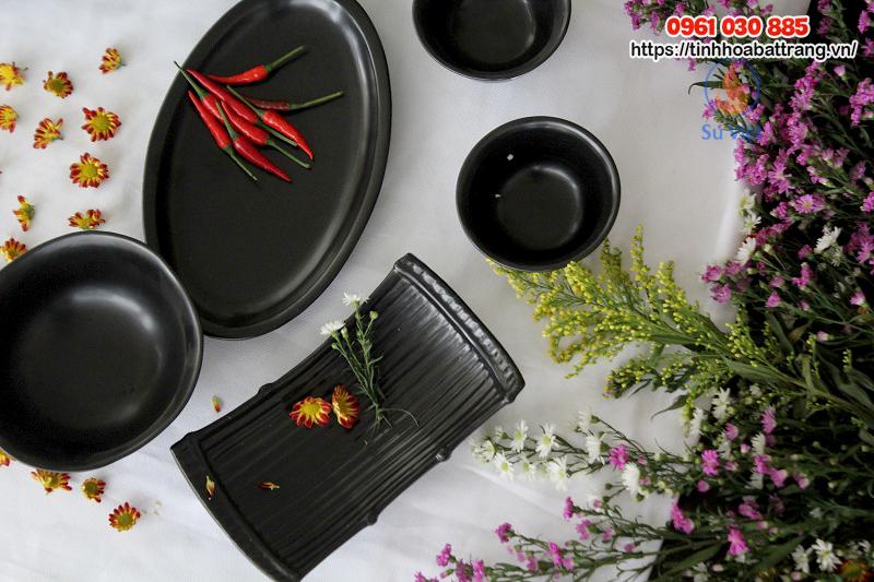 Bộ bát đĩa men mát quẹt màu Bát Tràng