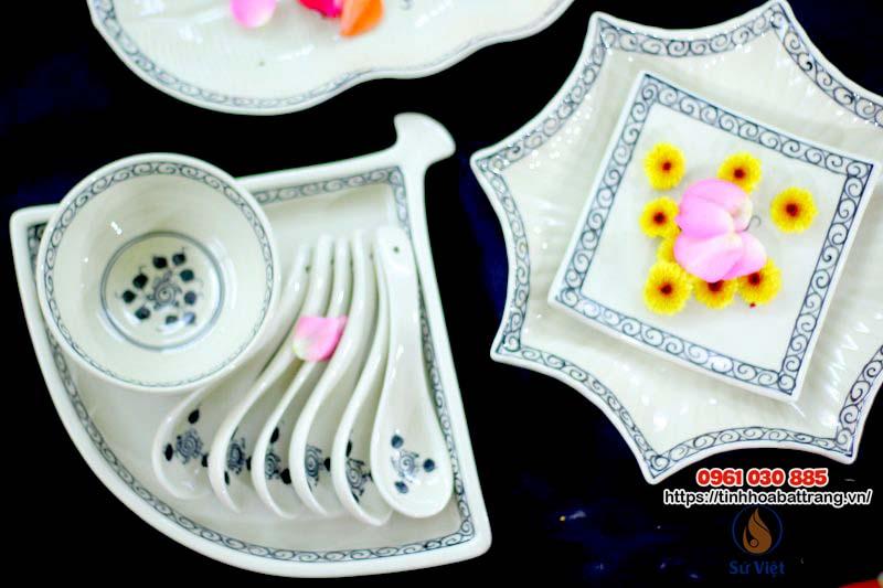 Bộ bát đĩa men trắng vẽ hoa dây Bát Tràng