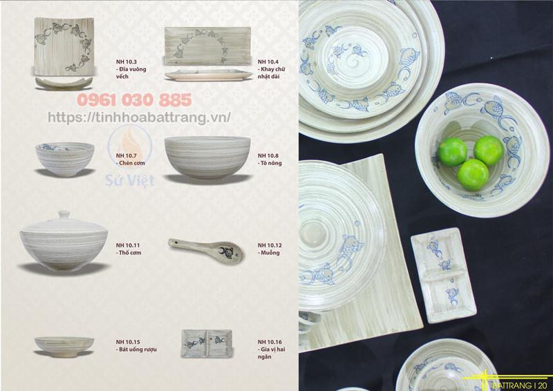Thông tin chi tiết bộ bàn ăn quần ngư Bát Tràng