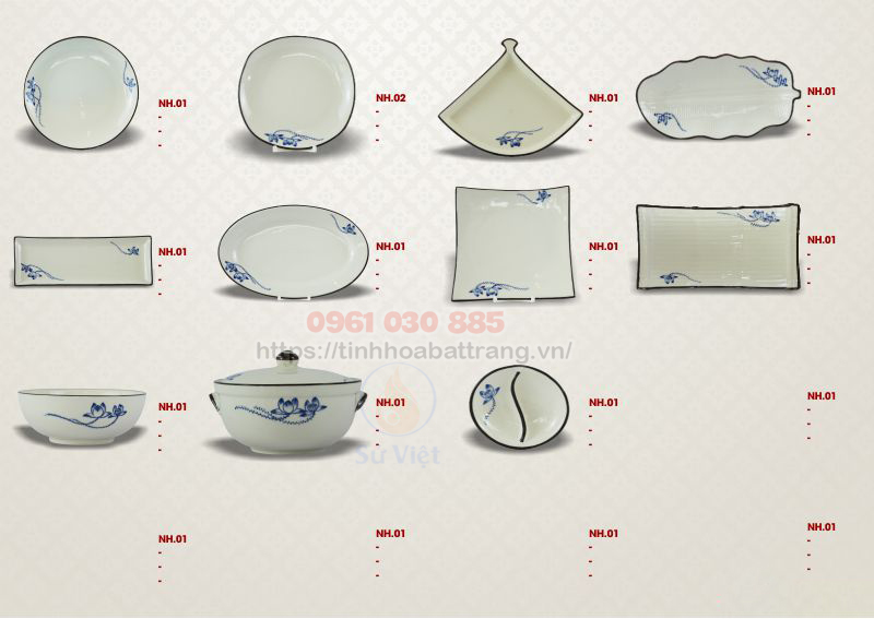Thông tin chi tiết bộ bàn ăn men trắng vẽ sen xanh Bát Tràng