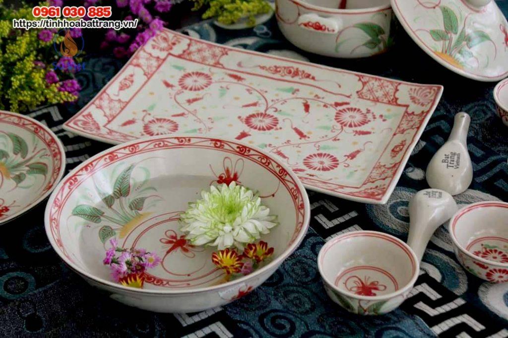 Bọ bát đĩa Bát Tràng men rạn vẽ hoa đỏ