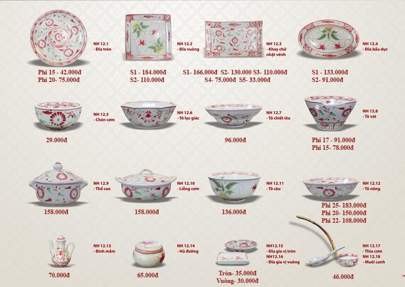 Thông tin bộ bàn ăn Bát Tràng cao cấp men rạn hoa đỏ