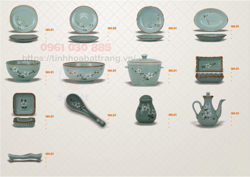 Thông tin chi tiết bộ bàn ăn men xanh vẽ hoa trắng Bát Tràng
