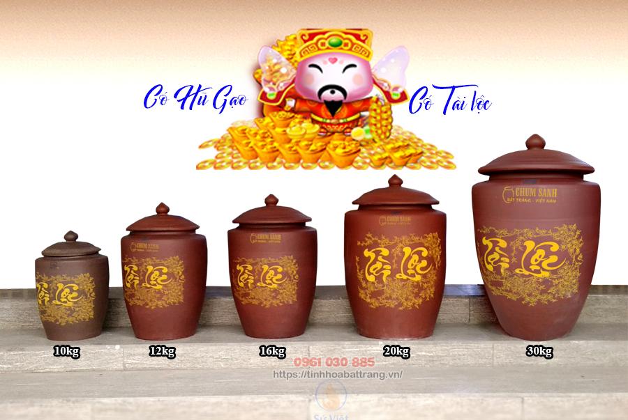 Các kích cỡ khác nhau của hũ gạo sành Bát Tràng