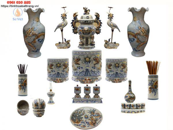 Bộ bàn thờ đầy đủ men rạn cao cấp Bát Tràng- Nghệ nhân Phạm Đạt