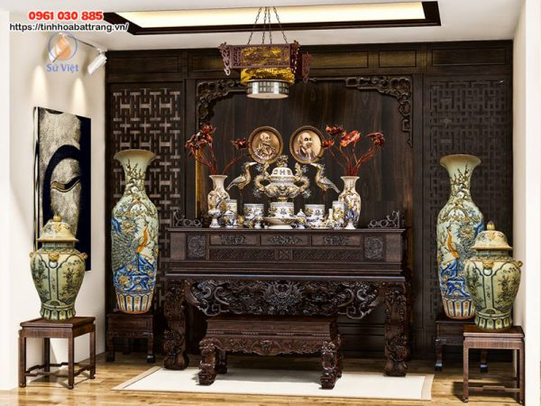 Bộ bàn thờ gia tiên Bát Tràng men rạn cao cấp