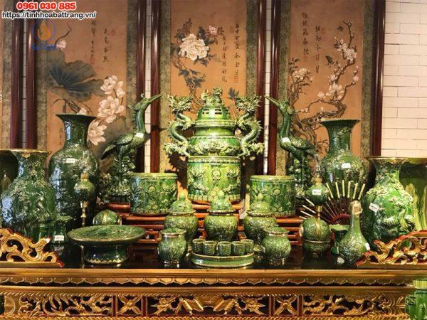 Bộ bàn thờ gia tiên men xanh ngọc lục bảo