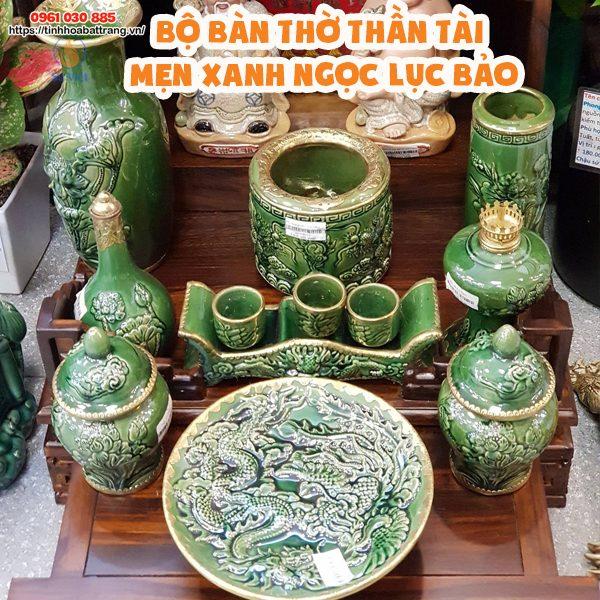 Bộ thần tài thổ địa men xanh ngọc lục bảo cao cấp Bát Tràng