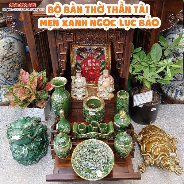 Bộ đồ thờ thần tài thổ địa men xanh ngọc lục bảo cao cấp giá tốt Bát Tràng