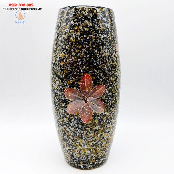 Bom đá hoa gấm Bát Tràng màu nâu vẽ hoa