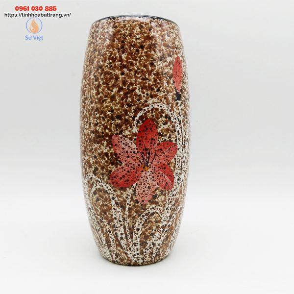 Bom đá hoa gấm Bát Tràng màu nâu đỏ