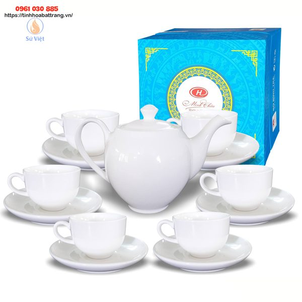 Bộ ấm chén quà tặng in logo sứ trắng Minh Châu