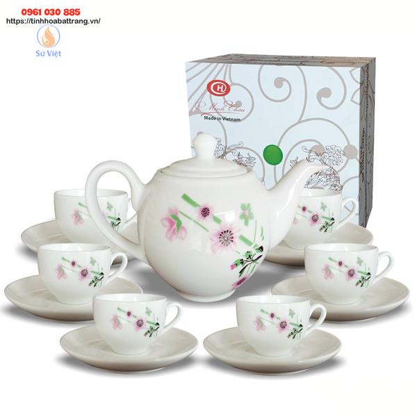 Bộ ấm chén quà tặng in logo vẽ hoa Minh Châu