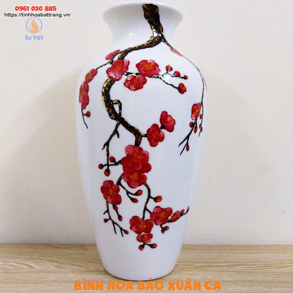 Bình hoa gốm báo xuân ca họa tiết hoa đào vẽ sơn dầu