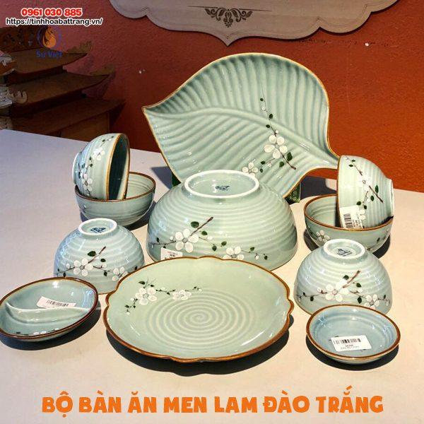 Set bát đĩa men lam 11 sản phẩm