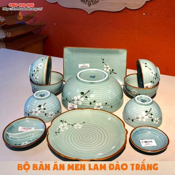 Bát đĩa Bát Tràng men lam