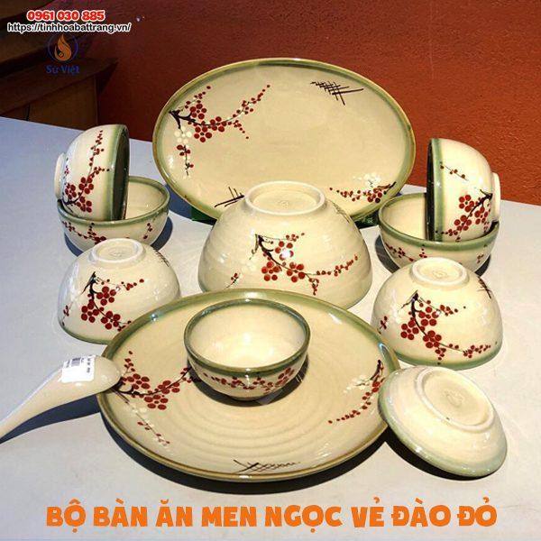 Bộ bàn ăn men ngọ vẽ đào đỏ với 12 sản phẩm