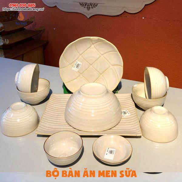 Bộ bàn ăn men sữa Bát Tràng 11 sản phẩm đẹp