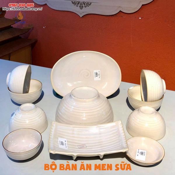 Bộ bàn ăn men sữa Bát Tràng