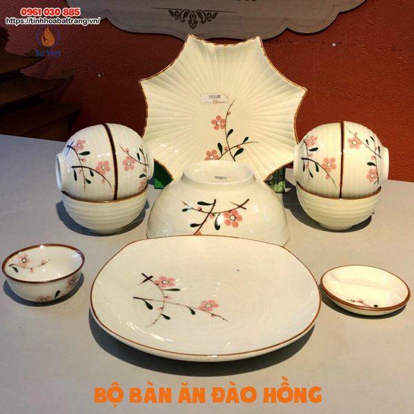 Bộ bàn ăn đào hồng Bát Tràng cao cấp 11 sản phẩm