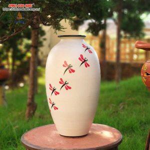 Bình hoa dáng bầu cổ ngắn vẽ chuồn