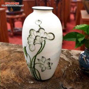 Bình hoa gốm dáng bầu cao vẽ sen xanh