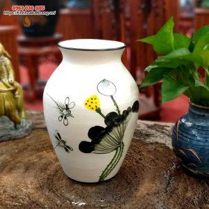 Bình hoa gốm dáng bầu vẽ chuồn sen
