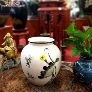 Bình hoa gốm dáng vại sen chuồn