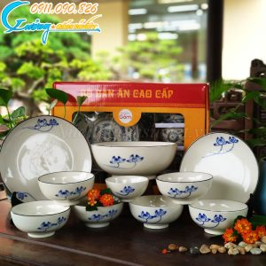 Bộ 10 sản phẩm bát đĩa men trắng hoa sen xanh