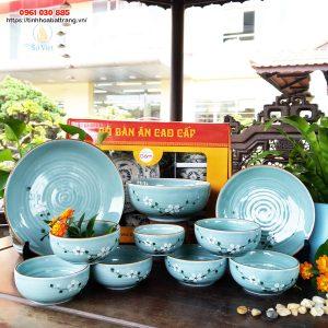 Bộ 10 sản phẩm bát đĩa men xanh đào trắng