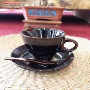 Ly cà phê dáng vát men nâu hỏa biến