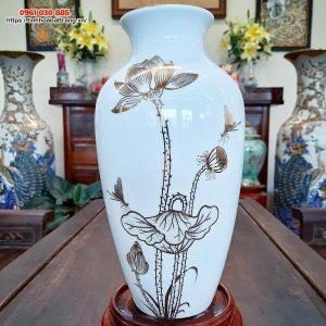 Bình hoa cổ thắt họa tiết sen chuồn vẽ vàng kim