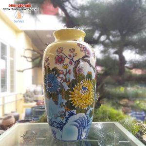 Bình hoa dáng bầu cổ ngắn họa tiết hoa cúc