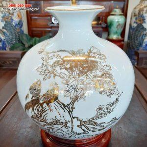 Bình hút lộc chim trĩ hoa phù dung vẽ vàng kim