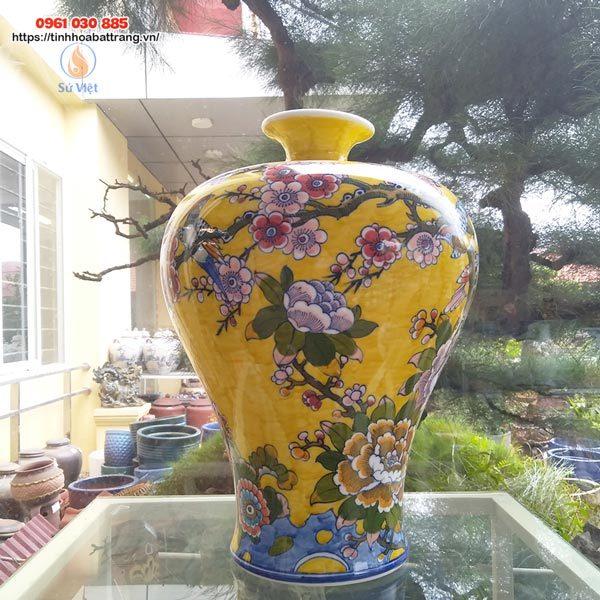 Bình hút lộc dáng cao họa tiết hoa