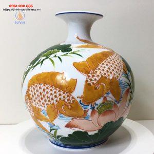 Bình hút lộc họa tiết cá chép vàng hoa sen