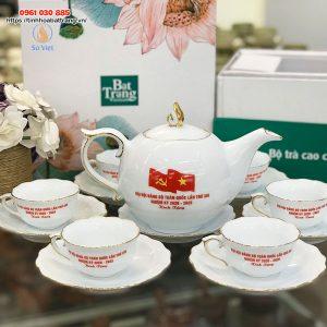 Bộ ấm trà trắng mẫu đơn in logo kẻ vàng kim