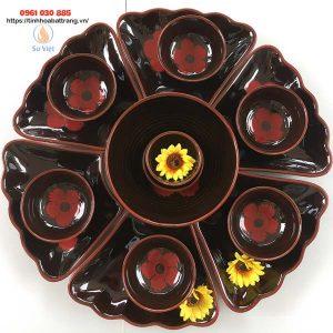 Bộ bát đĩa hoa mặt trời hoa đỏ men đen