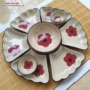 Bộ bát đĩa hoa mặt trời hoa đỏ men ghi