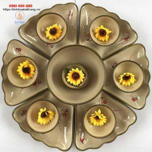 Bộ bát đĩa hoa mặt trời họa tiết hoa đào
