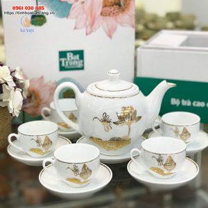 Bộ trà trắng dáng Minh Long sen chuồn kẻ vàng