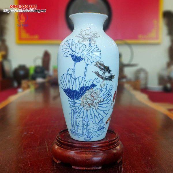 Bình hoa cổ thắt họa tiết cá chép- hoa sen kẻ vàng kim