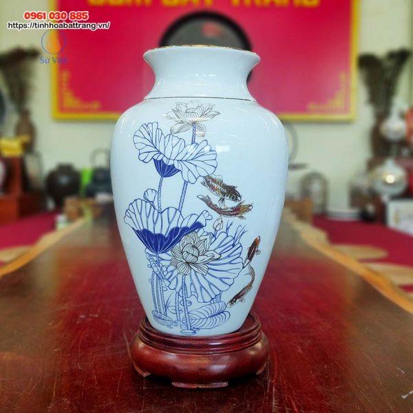 Bình hoa dáng bầu họa tiết cá chép- hoa sen kẻ vàng kim