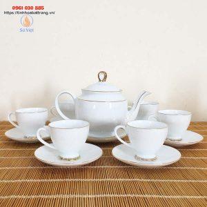 Bộ ấm trà trắng kẻ vàng